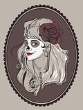 Beautiful woman portrait for Mexican holiday day of dead