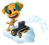 Snow removal. Yellow dog cleans snow with snow removing machine