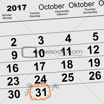 31 October 2017 Halloween. Calendar date reminder form pumpkin lantern