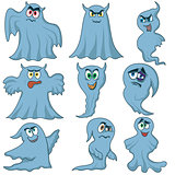 Set of nine amusing ghosts for Halloween