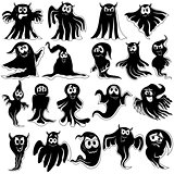 Set of nineteen flying black ghost stencils