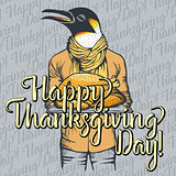 Vector illustration of Thanksgiving penguin concept