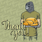Vector illustration of Thanksgiving monkey concept