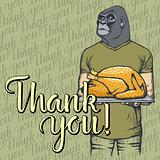 Vector illustration of Thanksgiving monkey concept
