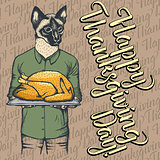 Vector illustration of Thanksgiving cat concept