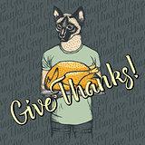 Vector illustration of Thanksgiving cat concept
