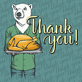 Vector illustration of Thanksgiving bear concept