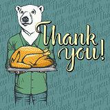 Vector illustration of Thanksgiving bear concept