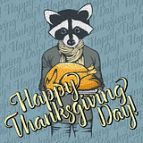 Vector illustration of Thanksgiving racoon concept