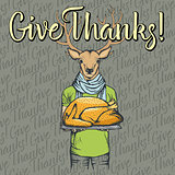 Vector illustration of Thanksgiving deer concept