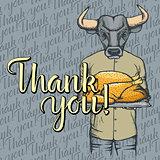 Vector illustration of Thanksgiving bull concept