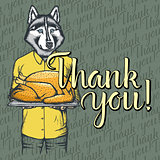 Vector illustration of Thanksgiving husky dog concept