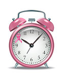 Pink alarm clock with pink ribbon