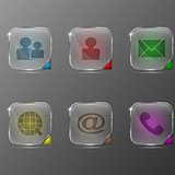 The vector set of transparent icons with different character