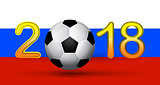Soccer ball in 2018 digit on Russian flag background