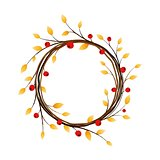 Autumn wreath on white background