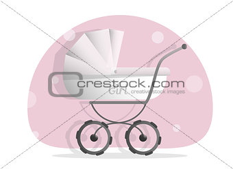 Baby stroller for girls, Isolated on white background. Cartoon pram illustrated. Trendy style for graphic design, Web site, social media, user interface, mobile app.