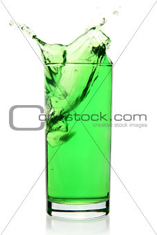 Green soft drink with splash