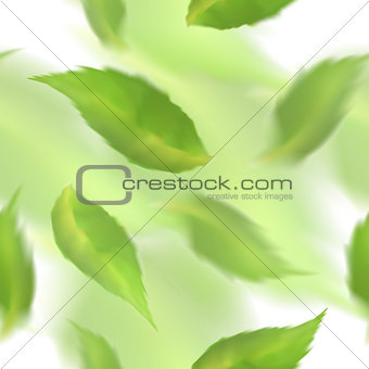 Green leaves seamless pattern. Blurred veector leaf on watercolor imitation background