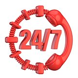 Red 24 hours a day and 7 days a week sign. 3D