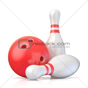 Skittles and bowling ball 3D
