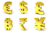 Currency golden signs. 3D