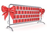 Steel barricades with red ribbon bows. Side view. 3D