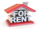 FOR RENT house sign side view 3D