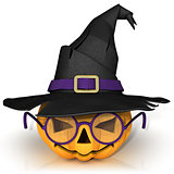 Funny Jack O Lantern. Halloween pumpkin with purple glasses, wea