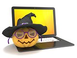 Laptop with funny Jack O Lantern and Halloween witch hat. 3D