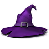 Halloween, witch hat. Purple hat with purple belt