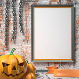 Jack O Lantern pumpkin, chains and mock up blank poster on white