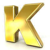 Golden font collection letter - K. 3D