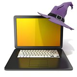 3D rendering of a open black laptop with Halloween colored scree