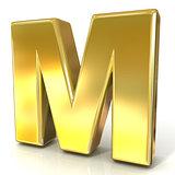 Golden font collection letter - M. 3D