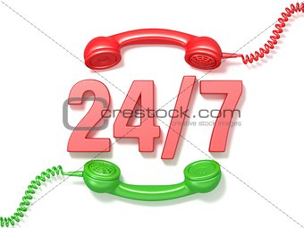24 hours 7 days a week sign. Retro red and green phone receivers
