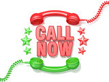 Call now sign. Retro red and green phone receivers and stars cir