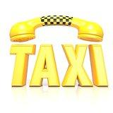 Yellow word taxi with phone handset, 3D