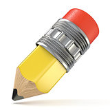 Yellow pencil. Cartoon style. 3D