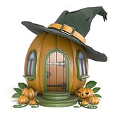 Halloween pumpkin house with witch hat 3D