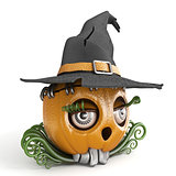 Halloween pumpkin Jack O Lantern lady with witch hat 3D