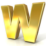 Golden font collection letter - W. 3D