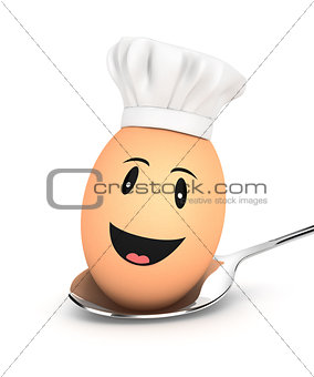 3d egg chef on spoon