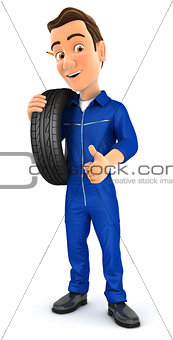 3d mechanic carrying tire on shoulder