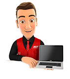 3d seller behind wall holding laptop