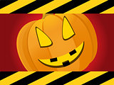 Halloween red background with creepy pumpkin face