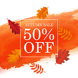 Autumn Sale Poster With Orange Blot And Autumn Leaves