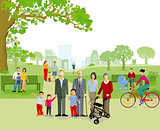 Family walking in the park, illustration