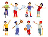 Children's sport collection and sporting children