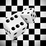 Playing dice for a casino on a transparent checkered background